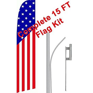 NeoPlex USA American Swooper Flag and Flagpole Set