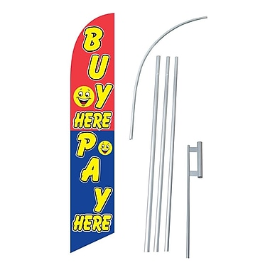 NeoPlex Buy Here Pay Here Swooper Flag and Flagpole Set