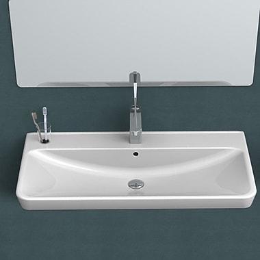 CeraStyle by Nameeks Belo Ceramic Rectangular Drop-In Bathroom Sink w/ Overflow; 3 Hole