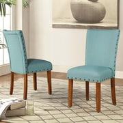 Roundhill Furniture Elliya Nailheads Parsons Chair (Set of 2); Blue