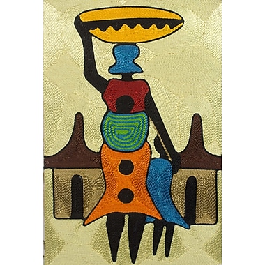 Novica Handcrafted African Threadwork of Village Scene by Ernestina Oppong Asante Wall Art