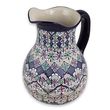 Novica Artisan Crafted Floral Ceramic Serving Pitcher
