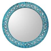 Novica Round Flower Motif Glass Mosaic Tile Wall Mirror