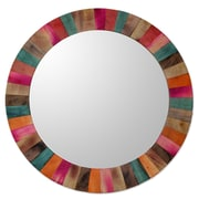 Novica Fair Trade Gorgeous Multicolored Hand Crafted Indian Mango Wood Vanity Wall Mirror