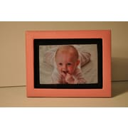 Budd Leather Lizard Leather Picture Frame; Pink
