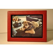 Budd Leather Lizard Leather Picture Frame; Red