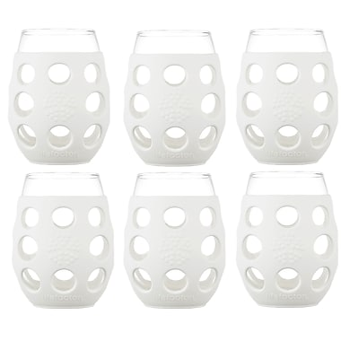 Lifefactory 6 Piece 11 oz Wine Glass Set; Optic White