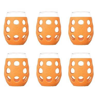 Lifefactory 6 Piece 11 oz Wine Glass Set; Orange