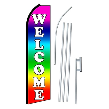 NeoPlex Welcome Rainbow Swooper Flag and Flagpole Set