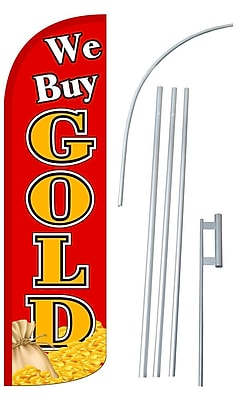 NeoPlex We Buy Gold Swooper Flag and Flagpole Set