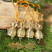 Novica Brass Bell Ornament Crafted by Hand (Set of 4)