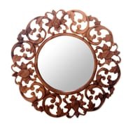 Novica Round Floral Carved Suar Wood Wall Mirror