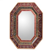 Novica Unique Reverse Painted Glass Wall Mirror