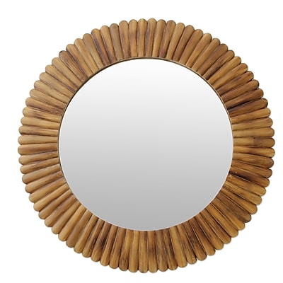 Novica Fair Trade Round Bamboo Wall Mirror