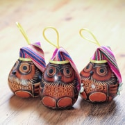 Novica Dried Mate Gourd Owls Wearing Hat Ornament (Set of 3)