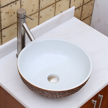 Elimaxs Elite Ceramic Circular Vessel Bathroom Sink; Brushed Nickel