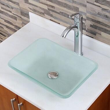 Elimaxs Elite Glass Rectangular Vessel Bathroom Sink; Chrome