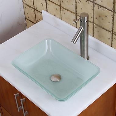 Elimaxs Elite Glass Rectangular Vessel Bathroom Sink; Brushed Nickel