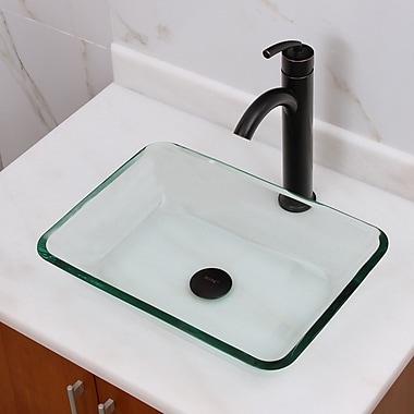 Elimaxs Elite Tempered Glass Rectangular Vessel Bathroom Sink; Oil Rubbed Bronze