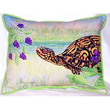 Betsy Drake Interiors Turtle and Berries Indoor/Outdoor Lumbar Pillow