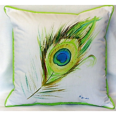 Betsy Drake Interiors Peacock Feather Indoor/Outdoor Throw Pillow