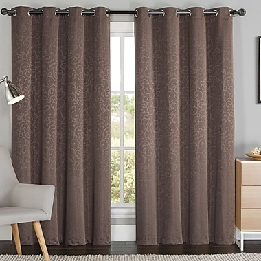 Luxury Home Grace Damask BlackoutThermal Grommet Curtain Panels (Set of 2); Chocolate
