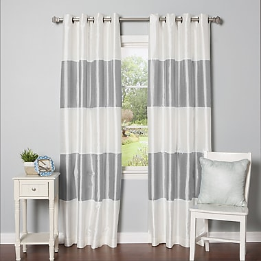 Best Home Fashion, Inc. Grommet Striped Blackout Thermal Curtain Panels (Set of 2); Grey