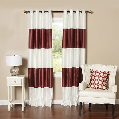 Best Home Fashion, Inc. Grommet Striped Blackout Thermal Curtain Panels (Set of 2); Burgundy