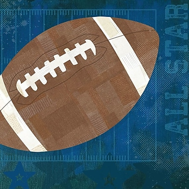 GreenBox Art 'Football All Star' by Vicky Barone Graphic Art on Canvas in Blue; 10'' H x 10'' W