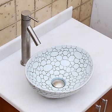Elimaxs Elite Ceramic Oval Vessel Bathroom Sink; Brushed Nickel