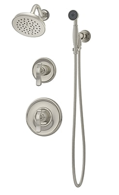Symmons Winslet Pressure Balance Shower and Hand Shower w/ Lever Handle; Satin Nickel