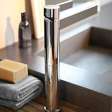 MaestroBath Caso Single Handle Single Hole Vessel Faucet; Brushed Nickel