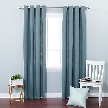 Best Home Fashion, Inc. Solid Semi-Sheer Grommet Curtain Panels (Set of 2); Aqua