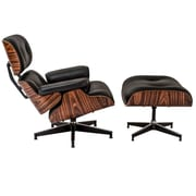 Edgemod Windsor Lounge Chair and Ottoman Set; Rosewood