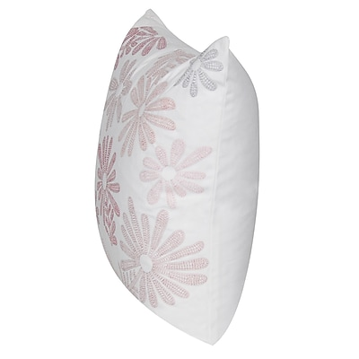 Loom and Mill Tossed Daisy Throw Pillow; Pink