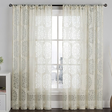 VCNY Milan Burnout Single Curtain Panel; Taupe