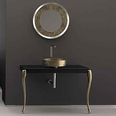 MaestroBath Musa Square Vessel Bathroom Sink; Black/Gold