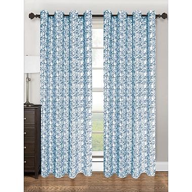 Kashi Home Emma Geometric Semi-Sheer Grommet Single Curtain Panel; Navy