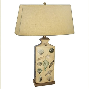 JB Hirsch Rectangle Shell Hand Painted Porcelain 30'' Table Lamp