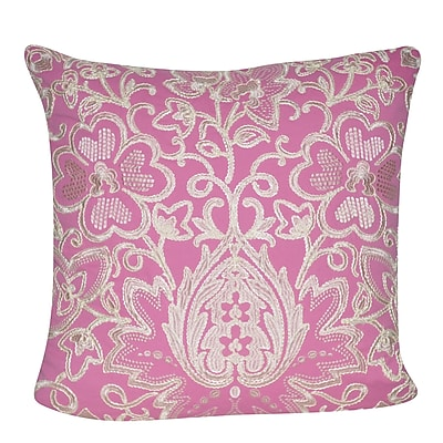 Loom and Mill Paisley Flower Throw Pillow; Pink