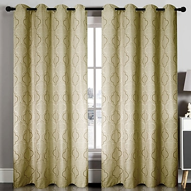 Home Sweet Home Dreams Geometric Blackout Grommet Single Curtain Panel; Taupe