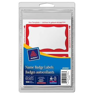 Avery® Name Badge Label, Red Border, 100 Labels/Pack (41006)
