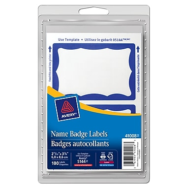 Avery® Name Badge Label, Blue Border, 100 Labels/Pack (41008)