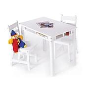 "Lipper 23.25"" Rectangular Wooden Child's Table w/shelves & 2 Chairs-White (534W)"