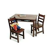 "Lipper 23.25"" Rectangular Wooden Child's Table w/shelves & 2 Chairs-Walnut Finish (534WN)"