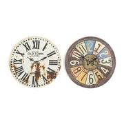 Benzara  Assorted 2 Prepossessing Metal Wall Clock (BNZ10090)