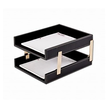 Dacasso Leather Double Stacking Trays - Rustic Black (DCSS394)