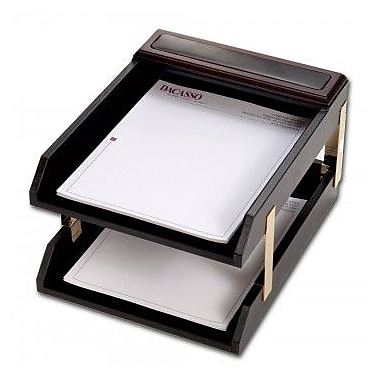 Dacasso Leather Double Legal-Size Trays - Brown (DCSS424)