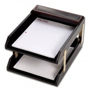 Dacasso  Leather Double Letter Trays - Walnut (DCSS455)
