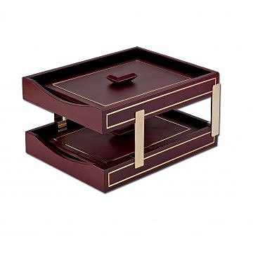 Dacasso Gold Tooled Double Letter Trays - Burgundy (DCSS440)